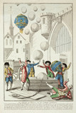 An artist's impresion of balloons flying, 1783.