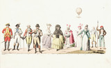 Eleven French figures with a balloon overhead, mid 19th century.