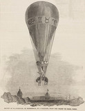 'Ascent of M Poitevin, on Horseback, in a Balloon', 1850.