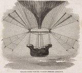 'Balloon Fitted with Mr Graham's Steering Apparatus', c 1850.