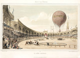 Balloon ascent from the National Arena in Paris, France, 1840s.