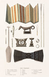 Harpoons, head-rests and other items from 'Waigiou', Indonesia, 1822-1825.