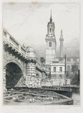 Old London Bridge, St Magnus the Martyr and the Monument, London, 1831.
