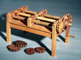 Model of screw-cutting machine from a design by Leonardo da Vinci, 15th century.