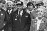 Arthur Scargill with NUM supporter wearing Thatcher mask, Stoke, 1984.
