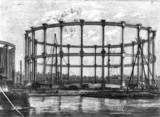 Gas holder at Bethnal Green, London, 1858.