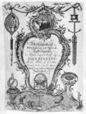 Trade card of John Bennett, Crown Court, London, 18th century.