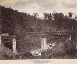 Constructing a viaduct on the Nanu Oya Extension Railway, Ceylon, July 1883.