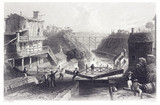 Lockport on the Erie Canal, New York, United States, 1840.