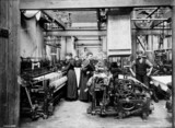 Power looms using Jacquard cards, Darvel, East Ayrshire, c 1900.