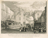 The opening of the Liverpool and Manchester Railway, 1830.