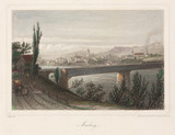 A train crosing a bridge, Marburg, Germany, 19th century.