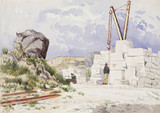 Limestone quarry on the Isle of Portland, Dorset, 1889.