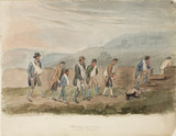 Miners walking to work, Northumberland, c 1805-1820.