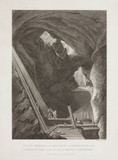 Interior of an iron mine showing the mode of raising ore, Sweden, 1822.