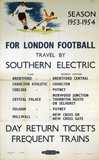 'For London Football Travel by Southern Electric', BR(SR) poster, 1953.