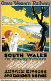 'South Wales for Bracing Holidays', GWR poster, c 1930s.