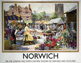 'Norwich - The Flower Market', LNER poster, 1923-1947.