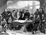 Conference of engineers at Britannia Bridge, 1858.