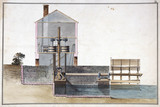 Float wheel driving a corn mill, late 18th century.