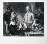 William Harvey demonstrating to King Charles, c 1616.
