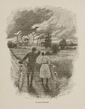 Couple with bicycles watching fantastical machines, 1898.