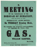 Poster advertising a meeting to discus lighting a town by gas, 21 January 1854.