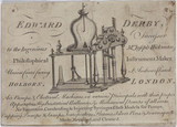 Trade card for Edward Derby, instrument maker, 18th century.