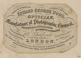 Trade card of George Edward Wood, optician, c 18th century.