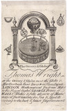 Trade card of Thomas Wright, mathematical instrument maker.