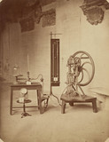 Delenil's Reciprocating Vacuum Punch and two manometers, 1876.