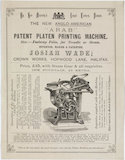 'The new Anglo-American 'Arab' patent platen printing machine', 19th century.