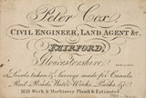 Trade card of Peter Cox, civil engineer and land agent, 1810.