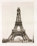 Erection of the upper section, Eiffel Tower, Paris, 26 December 1888.