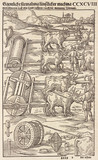 Machinery for conveying heavy loads over land pulled by oxen, 1548.