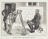 Photographer taking prisoner's photograph, 19th century.