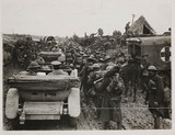 'A crowded road at Fricourt', France, WWI, 1917.