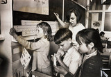 Children using slide rules, 1967.