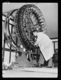 Man with a shoe manufacturing 'wheel', 1934.