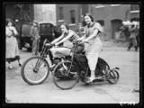 Two women on motorbikes, 1935.