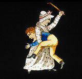 Woman beating a boy with a stick, mid 19th century.