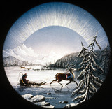 Arctic scene with reindeer and sledge, magic lantern slide, 19th century.