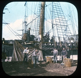 Men working on a ship, c 1895.