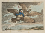 Baron von Munchausen flying on a giant bird, 1811.
