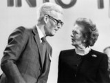 Margaret Thatcher and Douglas Hurd at a conference, 18 March 1989.