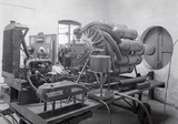 First ground test engine (the WU) at Power Jets' works in Lutterworth, 1938.