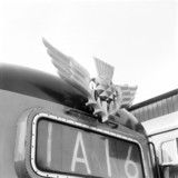 Thistle emblem attached to front of Deltic locomotive, 9 March 1964.