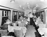 Passengers inside a British Railways restaurant car, July 1956.