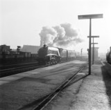'Flying Scotsman' train, pulled by  'Miles Beevor' at Doncaster, c 1957.
