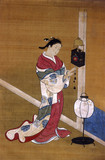 Japanese woman winding up a wall clock, 1700-1750.
